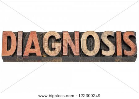 diagnosis word typography in vintage letterpress wood type printing blocks stained by color inks