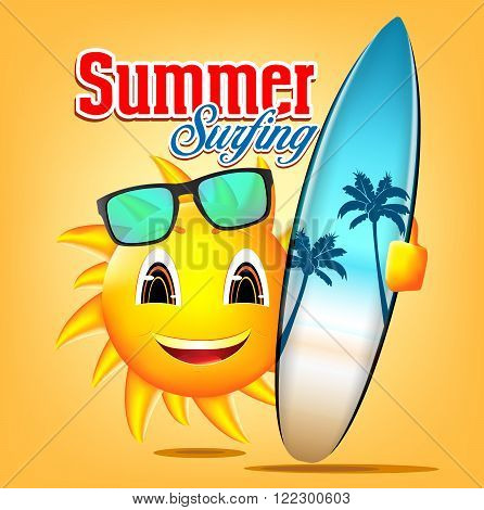 Summer Surfing Sun Character Holding Surfboard with Seascape and Palm Trees Design in Orange Background for Summer Adventure. Vector Illustration