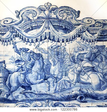 LISBON, PORTUGAL - October 26, 2015: Detail of a tiles panel from the 18th century in Saint Joseph Hospital on October 26, 2015 in Lisbon, Portugal