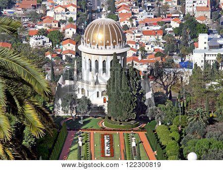 HAIFA ISRAEL - MARCH 01 2016: Bahai temple on the of of Mount Carmel