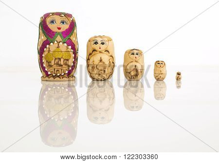 Matryoshka russian doll set in a row