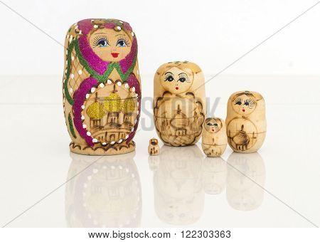 Matryoshka russian doll set on isolated background