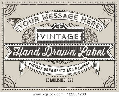 Vintage Label Design - Retro label design with vintage elements.  Each object is grouped and colors are global for easy editing.