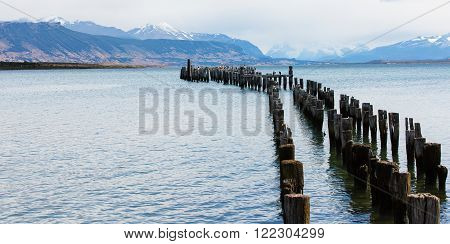 old pier in puerto natales patagonia chile