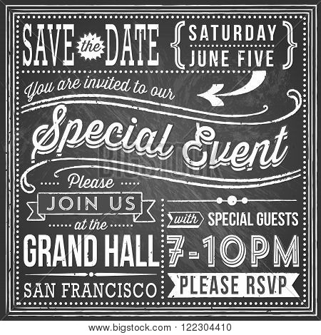 Vintage Chalkboard Invitation - Vintage chalkboard invitation design with retro and hand-drawn elements. File is layered, each object is grouped separately, and colors are global for easy editing. Texture can be removed.