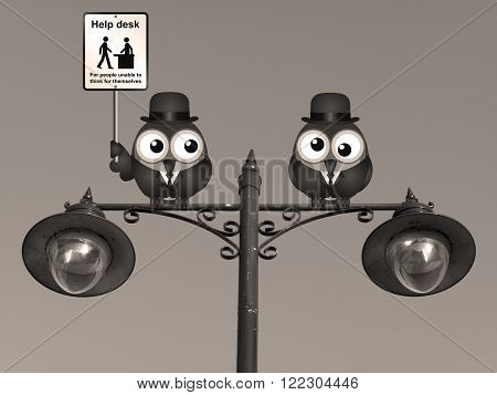 Sepia comical Help Desk sign with birds perched on a lamppost