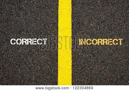 Antonym Concept Of Correct Versus Incorrect