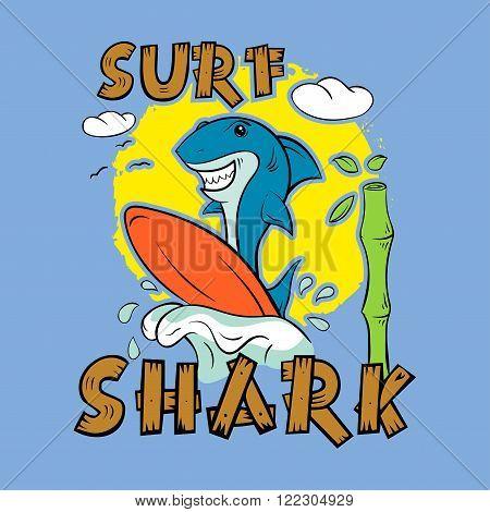 Shark surfer. Print for T-shirt. Surfboard child's drawing. The cheerful cartoon shark.