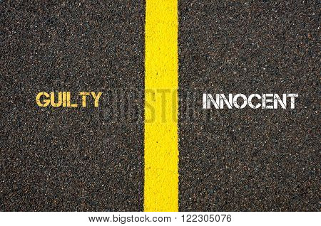 Antonym Concept Of Guilty Versus Innocent