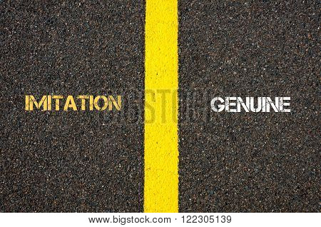 Antonym Concept Of Imitation Versus Genuine