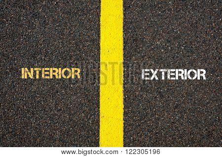 Antonym Concept Of Interior Versus Exterior