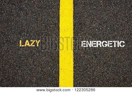 Antonym Concept Of Lazy Versus Energetic