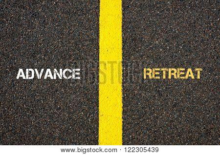 Antonym Concept Of Advance Versus Retreat