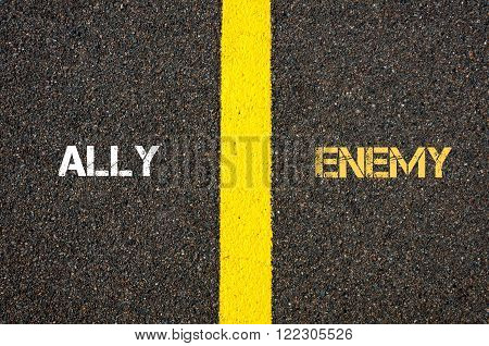 Antonym Concept Of Ally Versus Enemy