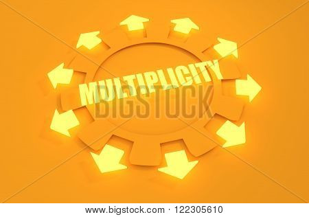 Industry theme relative concept. Arrows withing cog wheel. Multiplicity text