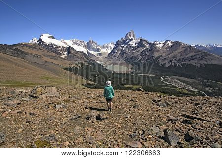 Enjoying a Panoramic View of the South Patagonia Andes in Los Glaciares National Park in Argentina