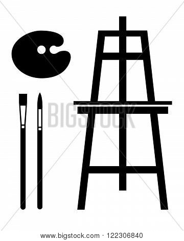 Paint Brush and Easel Set - Vector Silhouettes
