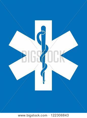 Vector Paramedic Symbol in Blue and White