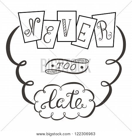 Never too late. The poster with a motivational phrase. Hand lettering phrase.