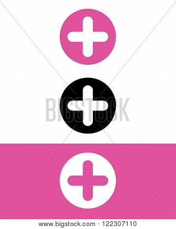 A collection of vector addition symbols in pink, black and reverse
