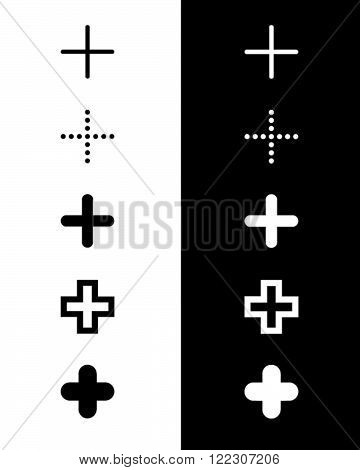 A Collection of Unique Vector Plus Symbols in Black and Reverse
