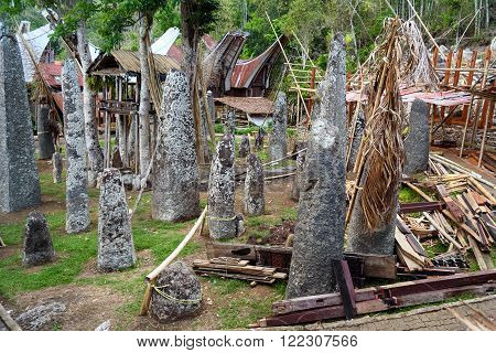 Ceremony Site With Megaliths. Bori Kalimbuang. Tana Toraja. Indonesia