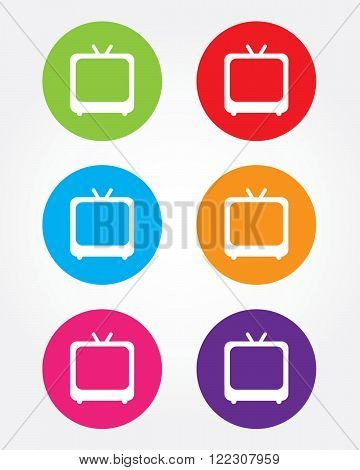 A collection of retro television set icons in various colours