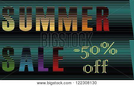 Summer Sale Inscription. Striped Colorful Letters. Vector Illustration