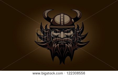 Dark vintage illustration of Viking head. vector