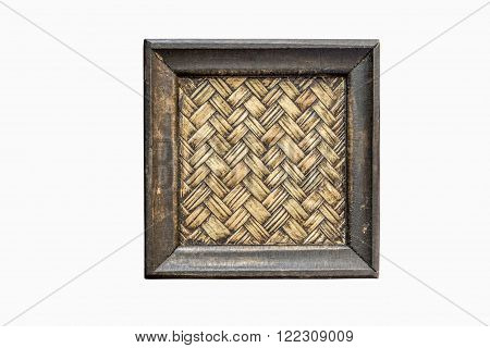 Bamboo woven saucer isolated on white background