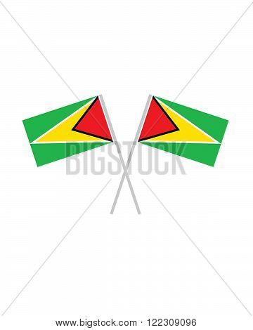 A vector illustration of crossed Guyana Flags