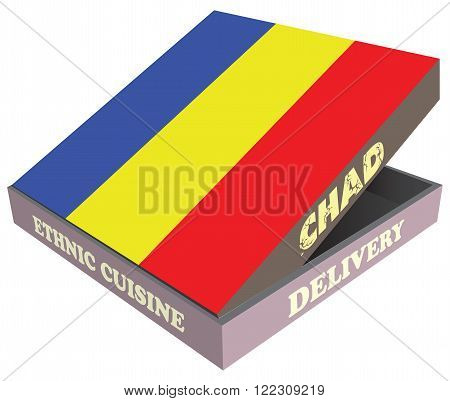 Delivery Ethnic cuisine Chad. Cardboard packaging. Vector illustration.