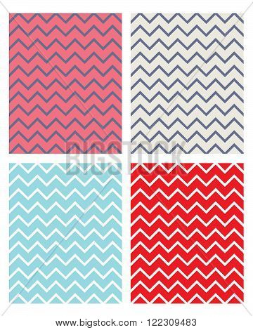 Vector Zig Zag Pattern and Background Set