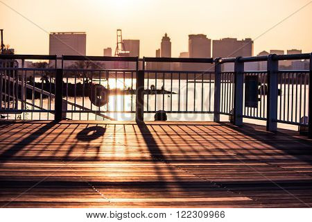 Silhouette Of Balcony On The River View.