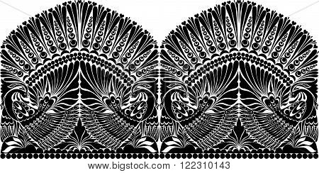 vector russian ornament. traditional  folklore ornament withe bird,