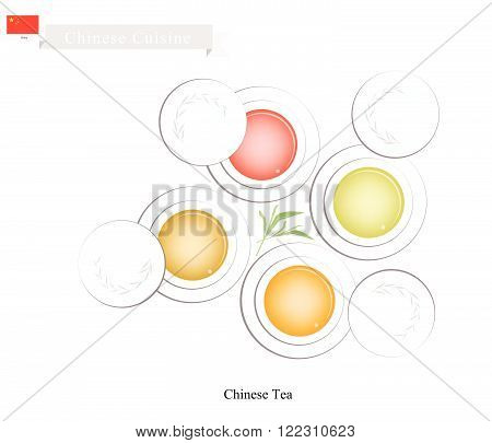 Chinese Cuisine Set of Chinese Traditional Tea Made From Tea Leaves and Boiled Water. A Popular Beverage in China.