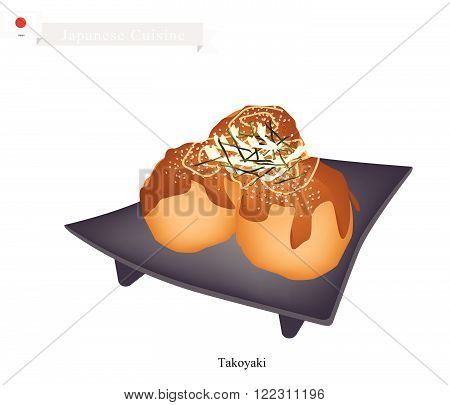 Japanese Cuisine Takoyaki Made of Wheat Flour Based Batter Filled with Diced Octopus with Worcester Sauce and Mayonnaise. One of The Most Popular Dish in Japan.