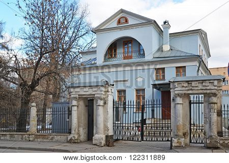 Urban manor XVIII-XIX centuries in a Tokmakov Lane in Moscow, Russia