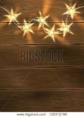 Christmas and New Year design template with wooden background and star-shaped lights. Vector illustration eps10.