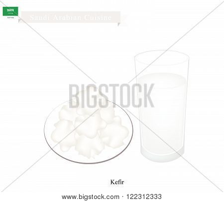 Saudi Arabian Cuisine Kefir or Fermented Milk Made of Milk and Tibetan Mushroom Grains. One of The Most Popular Drink in Saudi Arabia.