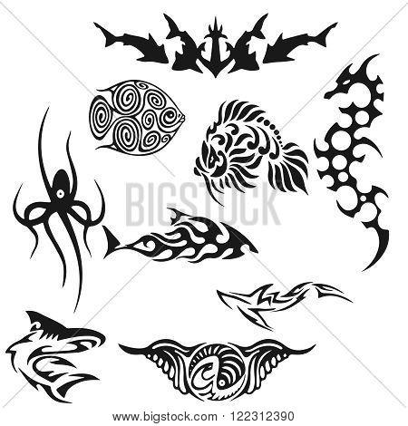 Creative Set of black tatoo fish. vector illustration