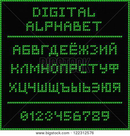 Digital alphabet. Font of the green dots - cyrillic capital letters. Vector illustration 10 EPS