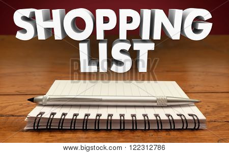 Shopping list Notepad Pen Reminder Buy Purchase Needed Items Groceries Gifts