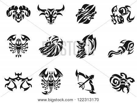 Black tatoo creative zodiac signs setsvector illustration