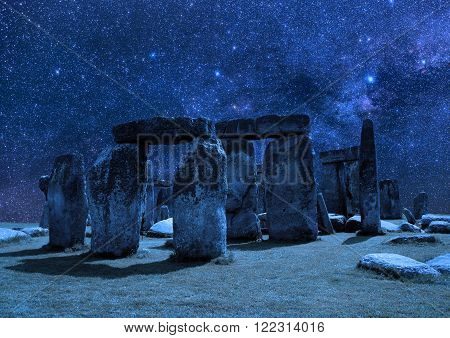 Stonehenge on the background of the night sky.