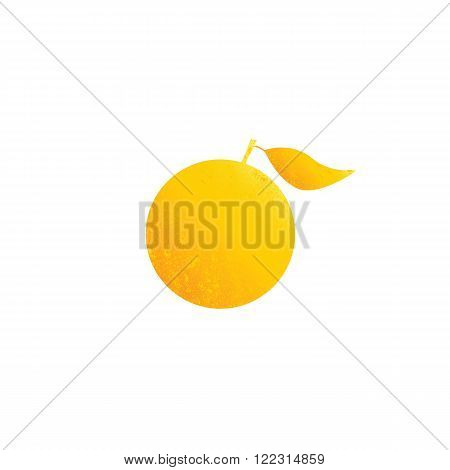 Bright shabby golden colored fruit with big leave isolated on white background. Logo template design element vegetarian menu decoration