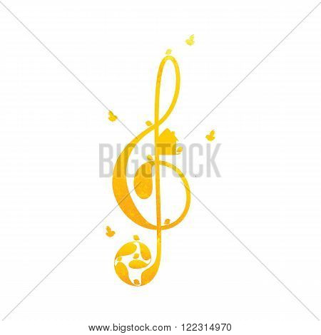 Beautiful vintage golden colored treble clef with floral elements nesting box and birds on white background. Greeting card / invitation template. Design element
