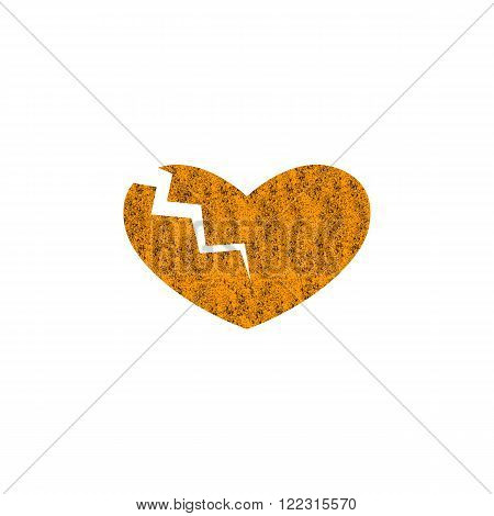 Rusty heart separated with lightning into two parts. Concept of cardiac disease broken heart big love and strong passion. Logo template