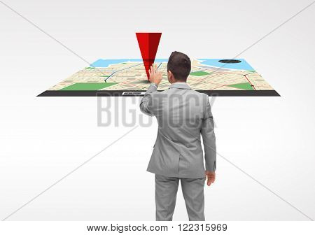 business, people, navigation and technology concept - businessman touching gps navigator map virtual projection from back