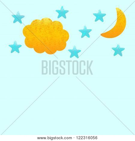 Shabby night background with golden moon and cloud blue stars. Greeting card / invitation template. Scrapbooking design elements